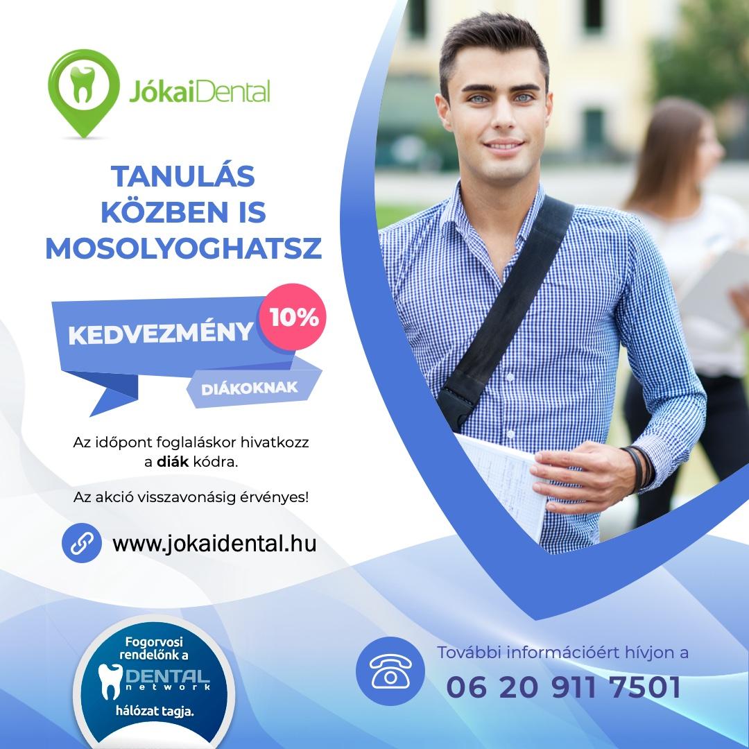 Jókai Dental fogorvos Budapest - 10 % kedvezmény diákoknak